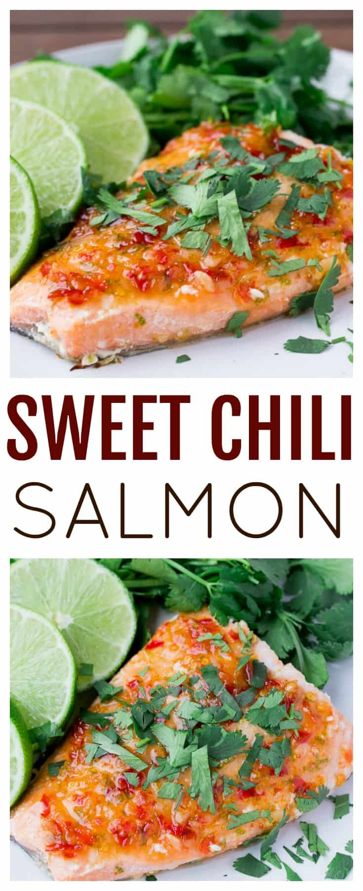 This Sweet Chili Salmon Recipe can be ready and on the table for a quick dinner in 15 minutes! It's naturally gluten free and perfect for those busy week nights! | main dish recipes |#salmon #salmonrecipe #sweetchilisalmon #dlbrecipes #glutenfree