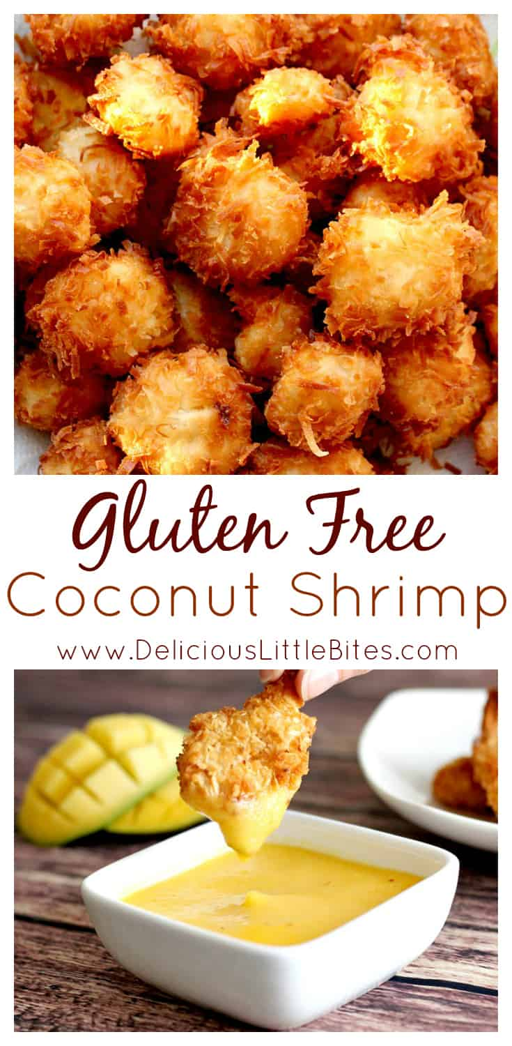 The absolute BEST Gluten Free Coconut Shrimp recipe out there! With coconut milk in the batter and shredded coconut on the outside, these are LOADED with coconut deliciousness! Can easily be made non-gluten free as well!   www.DeliciousLittleBites.com