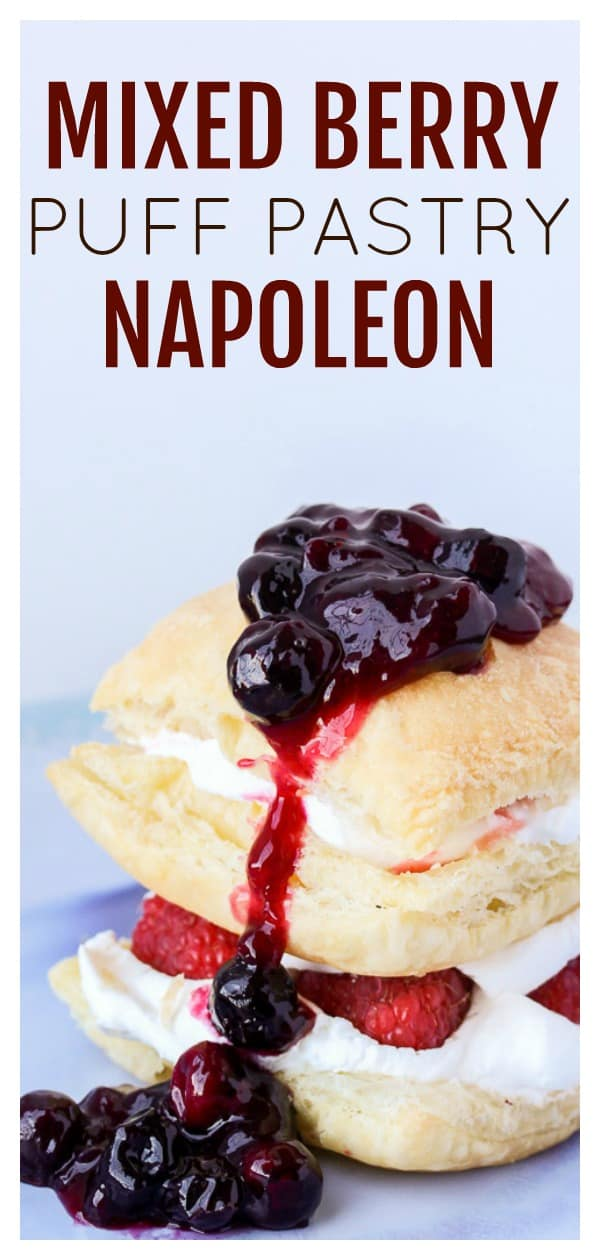 Mixed Berry Puff Pastry Napoleon - this red, white, and blue patriotic dessert recipe is made with flaky layers of puff pastry topped with whipped cream and fresh berries! It's an easy recipe that's perfect for 4th of July as well as all summer long! | #dlbrecipes #puffpastrynapoleon #puffpastry #napoleon #dessert #summerdessert