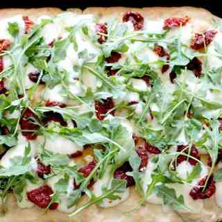 Focaccia Pizza with Sun-dried Tomatoes and Arugula