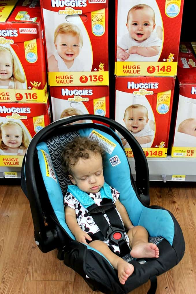 Benjamin in Walmart with Huggies