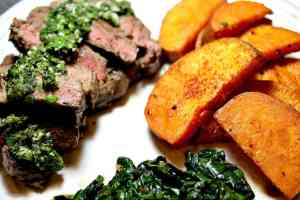 Sun Basket: Steaks with Chimichurri and Harissa-Roasted Sweet Potatoes