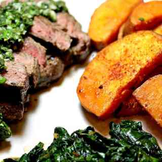 Sun Basket: Steaks with Chimichurri and Harissa-Roasted Sweet Potatoes