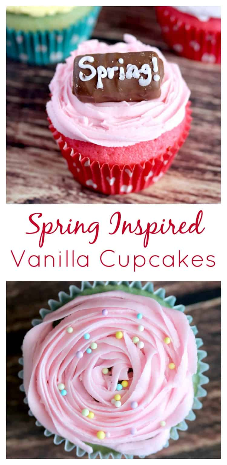 AD These Spring Inspired Vanilla Candy Cupcakes are the perfect recipe for Spring AND Easter gatherings! They are not only really pretty and fun, but also really delicious! #SpringMoments