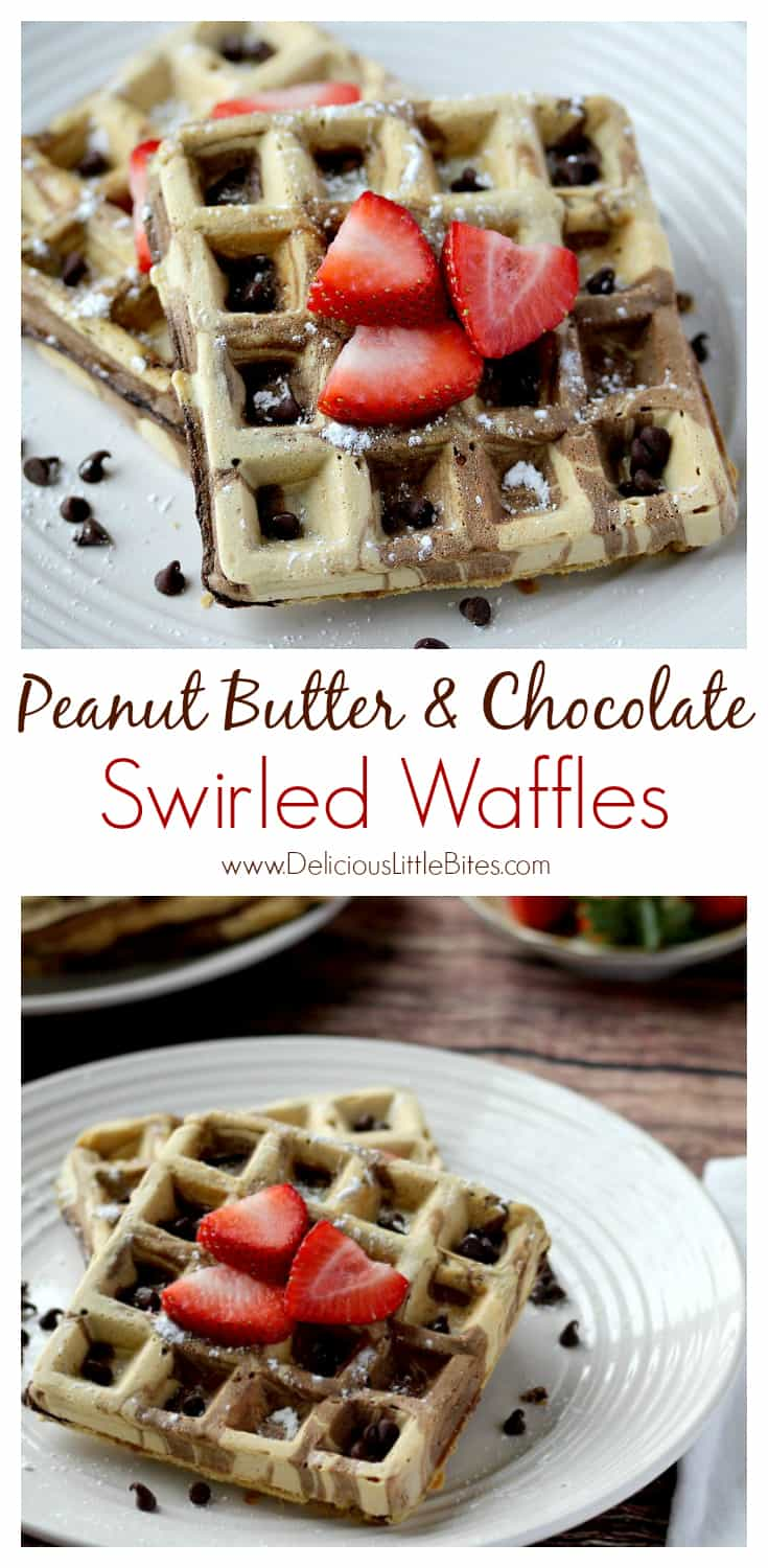 These Peanut Butter and Chocolate Swirled Waffles are the perfect breakfast recipe for all the peanut butter and chocolate lovers out there! Serve with powdered sugar and strawberries or jam for breakfast, or add chocolate sauce for brunch! Try making a waffle ice cream sundae for dessert! The possibilities are endless! | www.DeliciousLittleBites.com