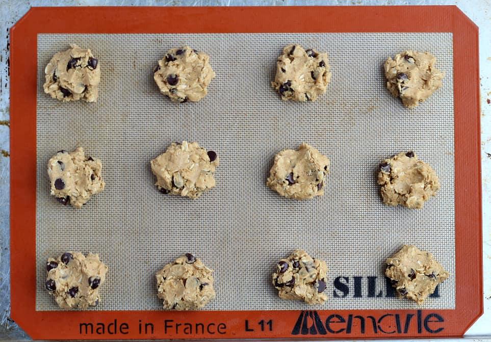 Cookie Batter on Baking Sheet
