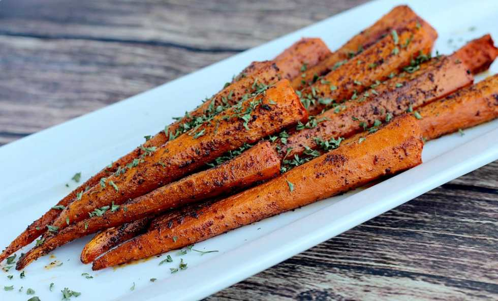 Roasted Chili Spiced Carrots on a Serving Dish