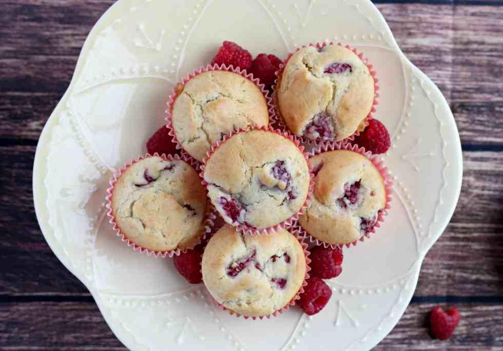 Raspberry Muffins on Cake Stand