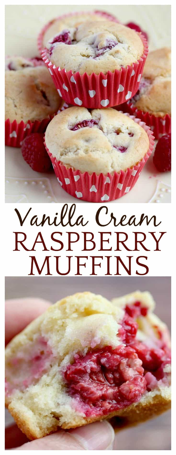 Blueberry muffins have long been my favorite, but this easy recipe for Vanilla Cream Raspberry Muffins are right up there! I use vanilla flavor coffee creamer in place of milk, and extra vanilla extract in the batter. This gives you get a burst of raspberry with a hint of vanilla in every bite!