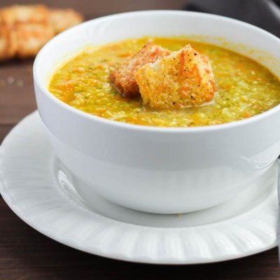 California Blend Vegetable Soup with Parmesan Croutons