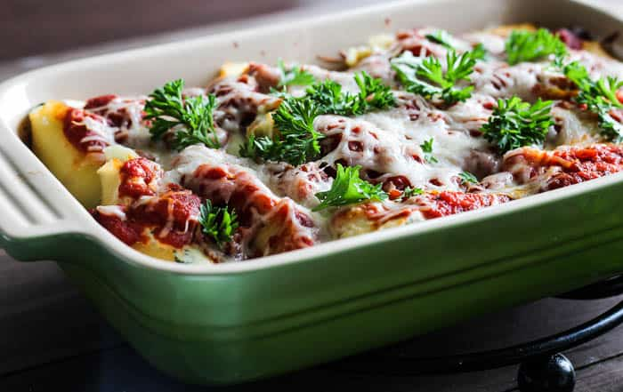 Baked Stuffed Shells Topped with Parsley