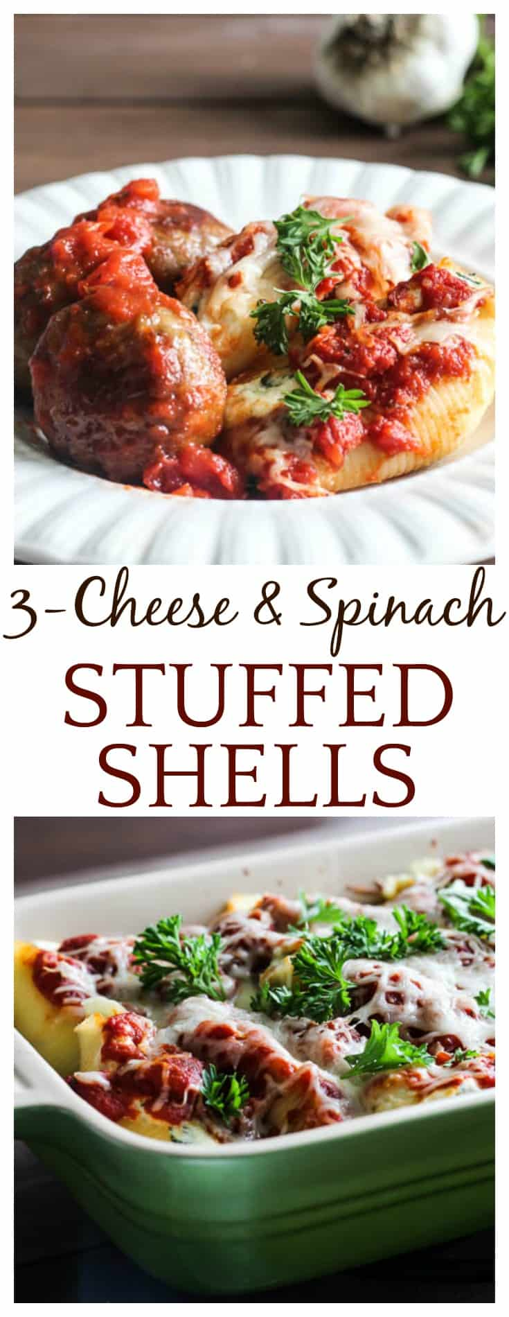 Hearty and delicious, 3-Cheese Spinach Stuffed Shells with Meatballs are a classic family favorite! This easy recipe is a great weeknight meal, the whole family will love! | #stuffedshells #pasta #italianfood #spinach #cheese #DLB