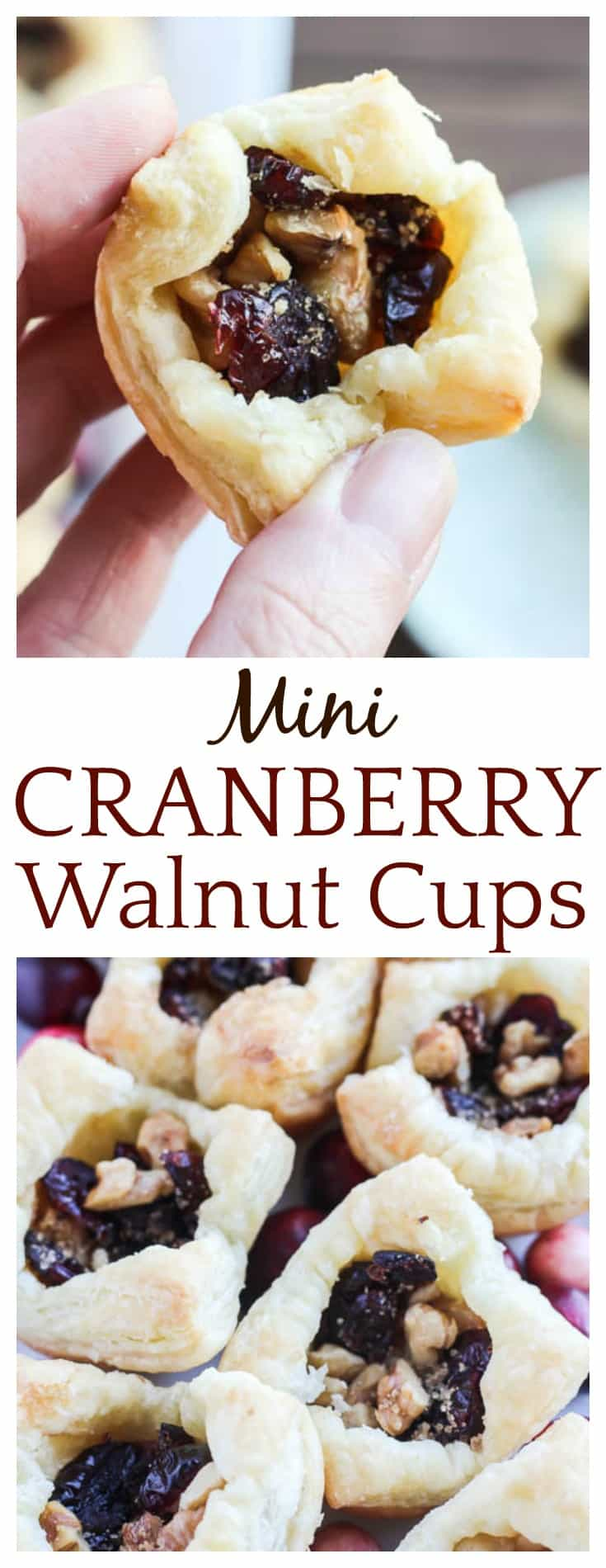 These Mini Cranberry Walnut Cups make a delicious appetizer or treat for the holidays! Made with Puff Pastry Sheets, sugar, and spice, they are sure to delight! #ad #InspiredByPuff #appetizers #holidayrecipes #DLBrecipes