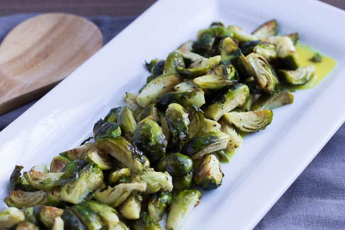 Roasted Brussels Sprouts with Lemon Mustard Dressing