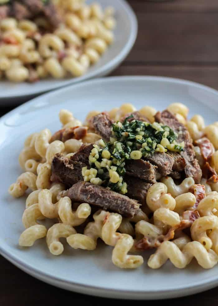 Tuscan Inspired Steak and Pasta Close Up