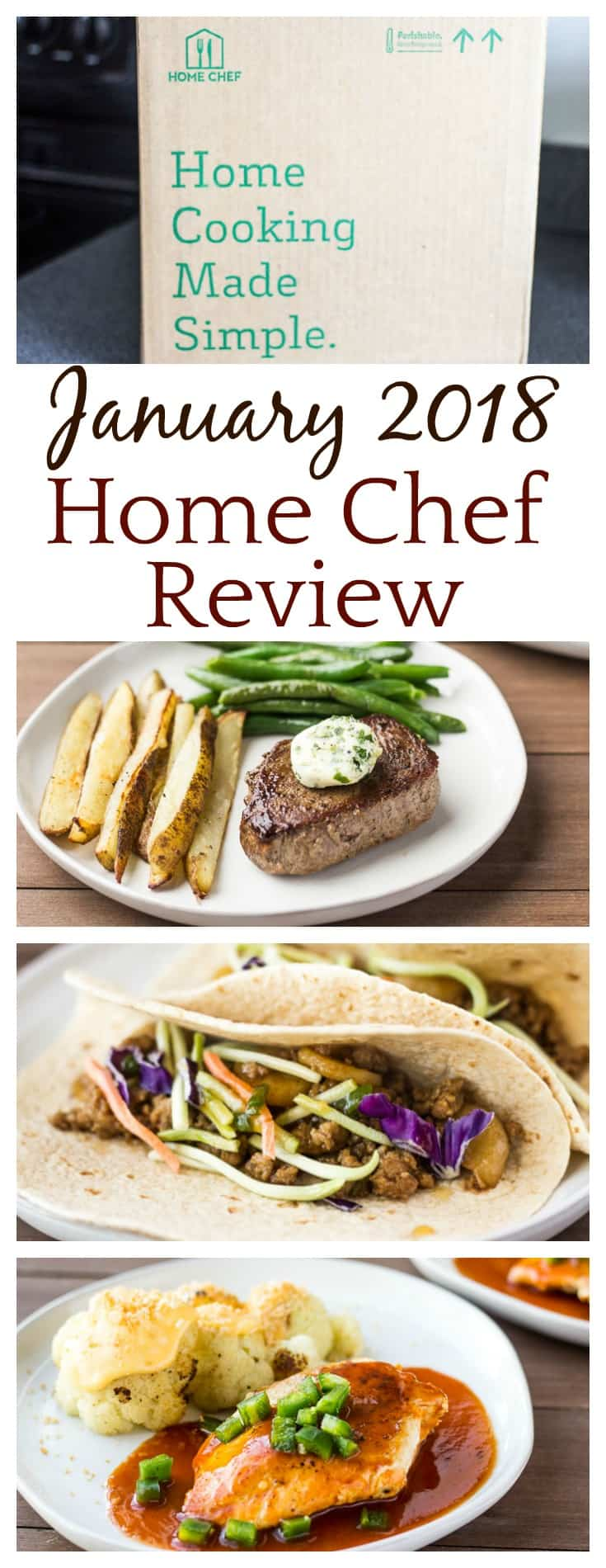 Check out the three meals and smoothie recipe I received in this January 2018 Home Chef Review! Included is also a coupon for $30 off of your first order! | #homechef #mealkits #mealkitreviews #foodsubscriptionboxes #subscriptionboxes #foodie
