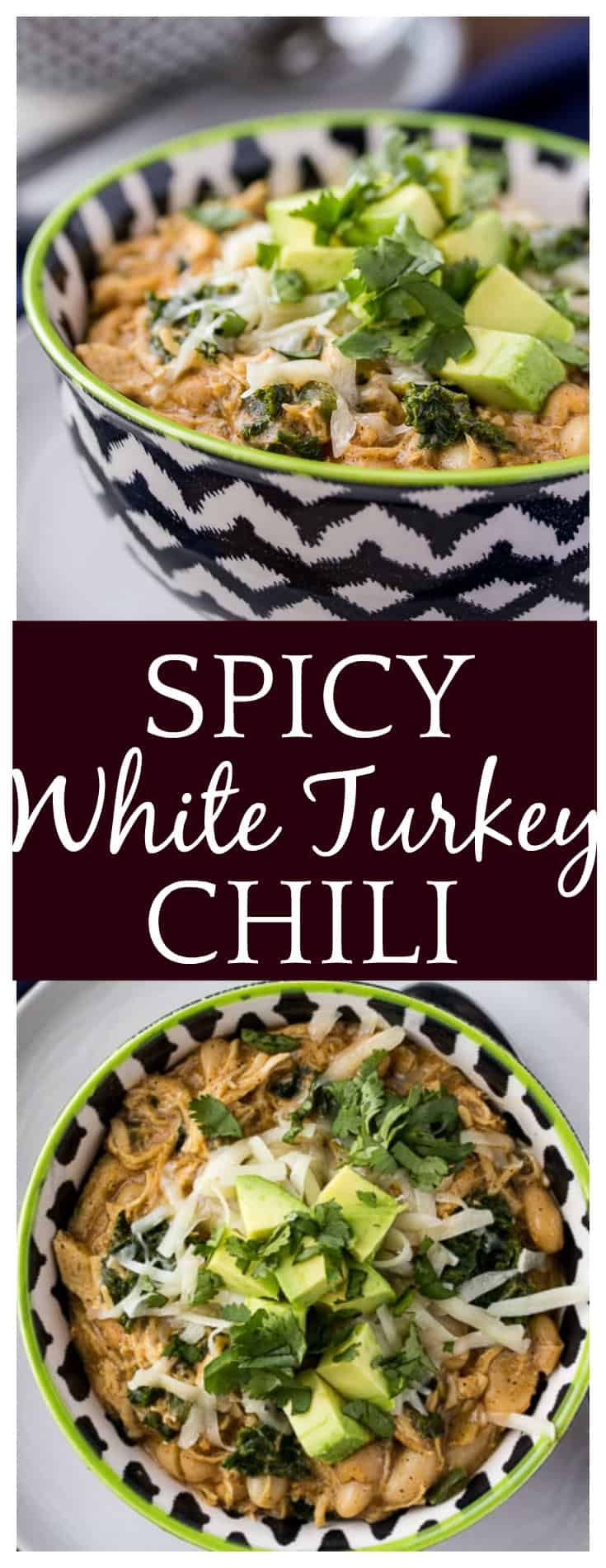 Full of flavor and a little spice, this Spicy White Turkey Chili is warm and comforting. This is an easy recipe for comfort food deliciousness! | #turkeychili #chili #easyrecipe #comfortfood #dlbrecipes