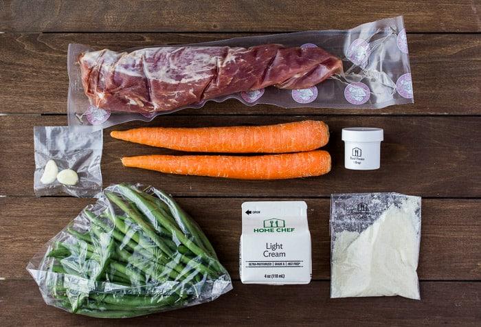 Ingredients for Pork Tenderloin with Basil-Pecorino Cream Sauce