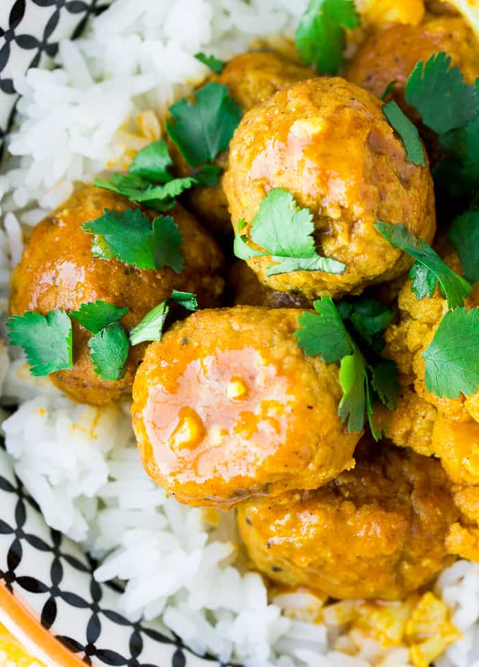 Coconut Curry Meatballs in a Bowl Over Rice