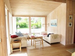 The interior of our cozy wooden cabin.