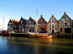 Town houses lining the town's inner harbour