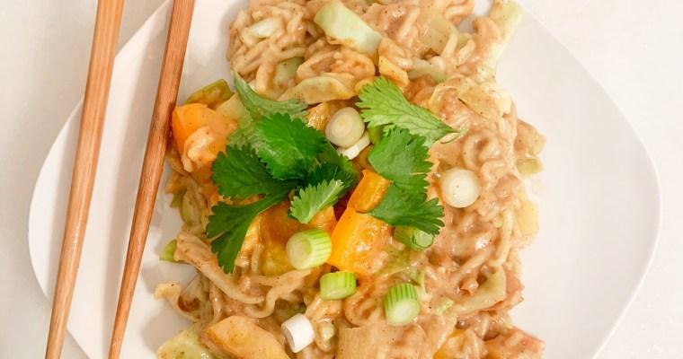 Vegan Instant Pot Recipe: Pad Thai Stir Fry with Spicy Nut Sauce