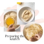 collage process knafeh in white bowl pouring butter pulling dough a part
