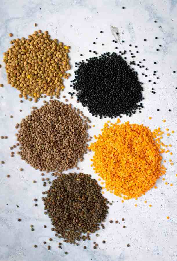 five different kind of dried lentils
