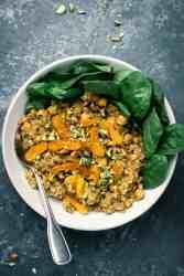 One bowl of Mediterranean Red Lentil Salad