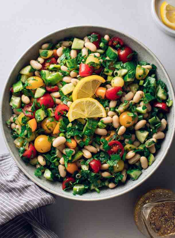 A large bowl of a simple bean salad
