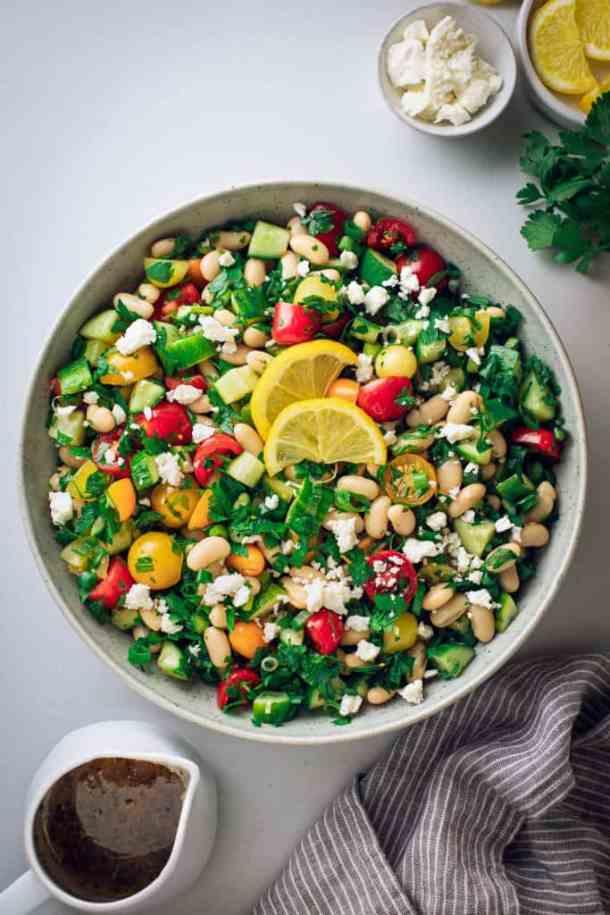 a large boel of simple white bean salad