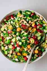 close up photo of the simple white bean salad
