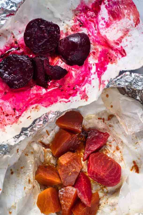 Roasted beets in parchment paper and foil