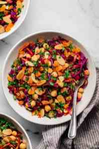 three bowls of of Winter Beetroot & Carrot Salad