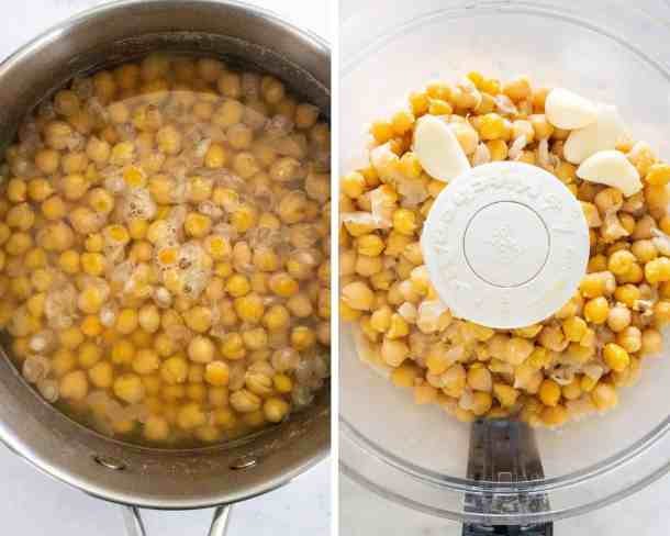 college-pot filled with boiled chickpeas. 2nd chickpeas in a food processor with garlic
