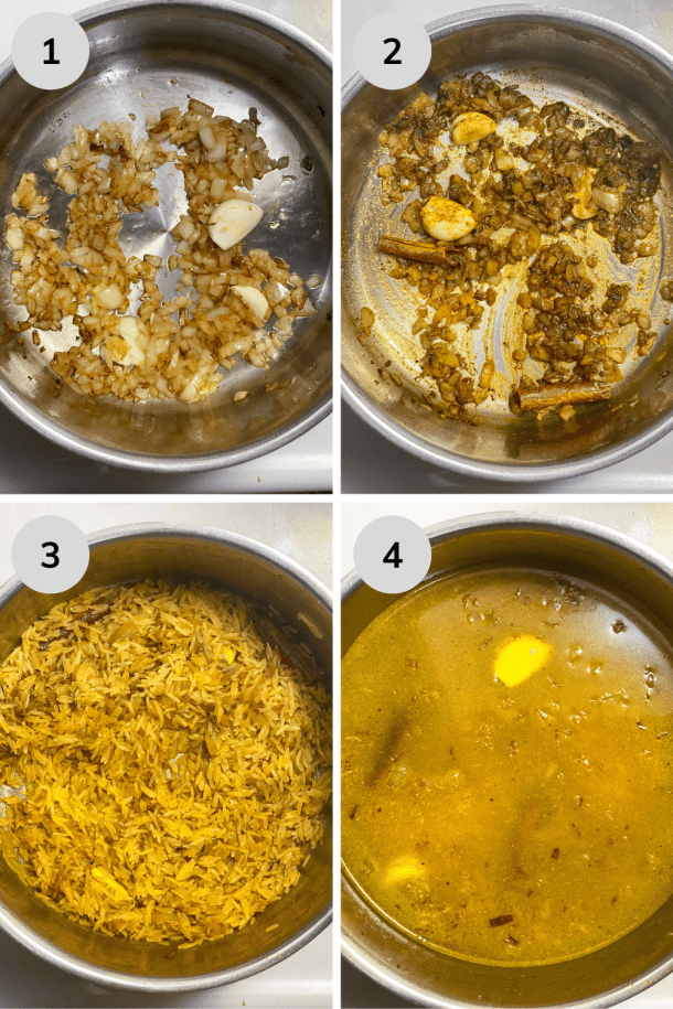 4 visual step for cooking the yellow rice