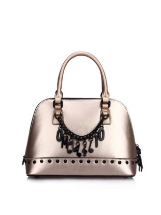 Champagne Small Cowhide Leather Top Handle