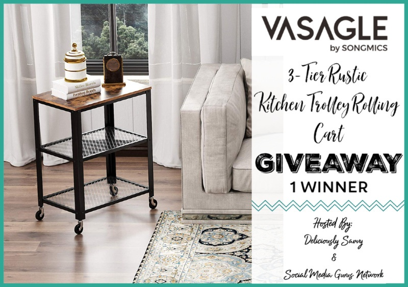 VASAGLE 3-Tier Rustic Kitchen Trolley Cart Giveaway