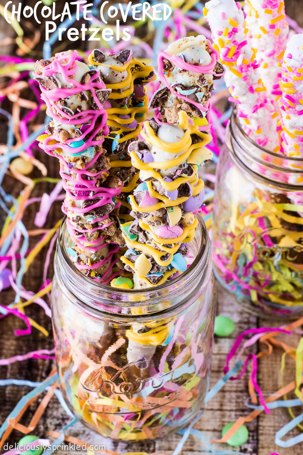 Spring Chocolate Covered Pretzels by Deliciously Sprinkled