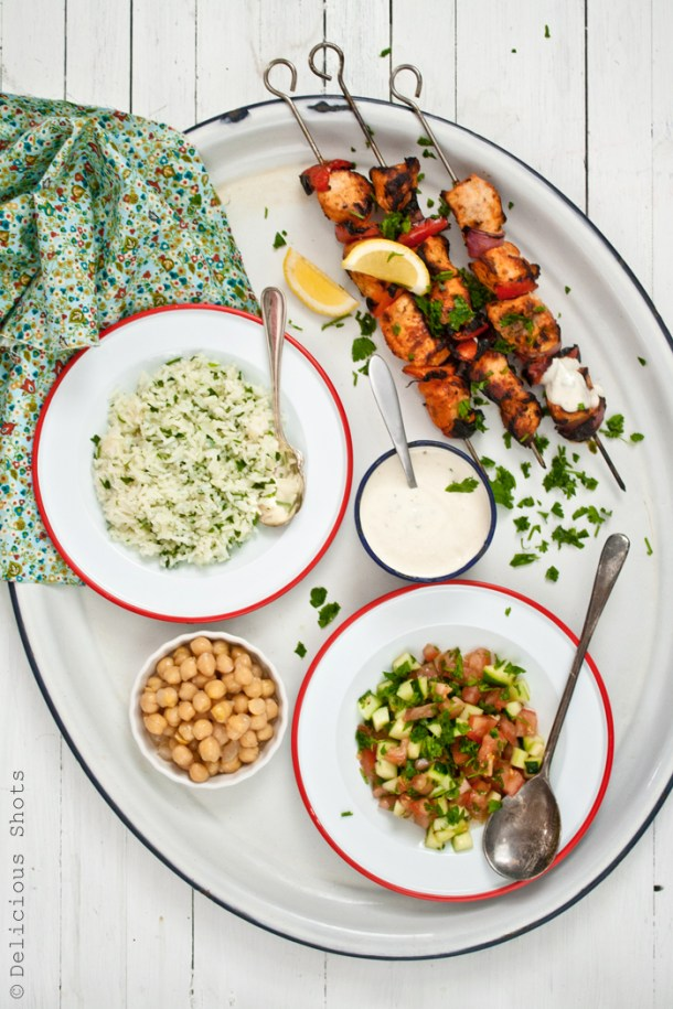 Grilled Chicken Kebabs, Herbed Jasmine Rice, Salad, Lemony Chickpeas and Yogurt-Tahini Sauce
