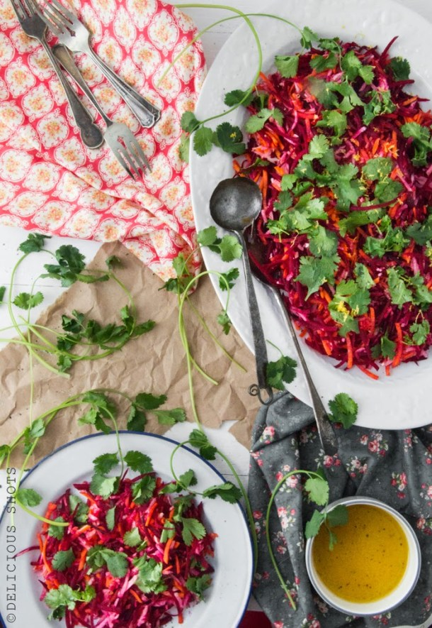 Raw Salad: Beet, Fennel, Carrots And Cilantro With Citrus Dressing + An Illustration