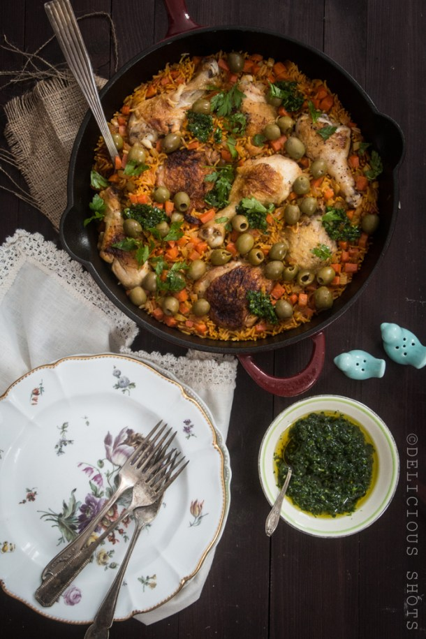 Easy Skillet Arroz Con Pollo and Salsa Verde