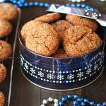 Vegan Gluten Free Gingerbread Cookies sitting in a metallic Christmas tin.