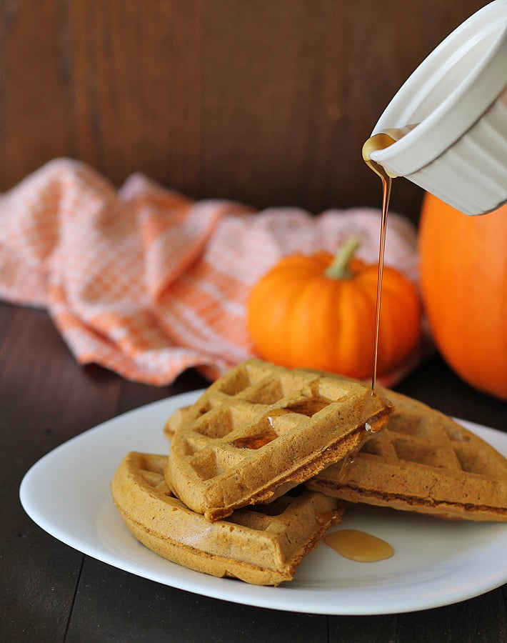 These Vegan Gluten Free Pumpkin Spice Waffles come together quickly and will become a new fall favourite.