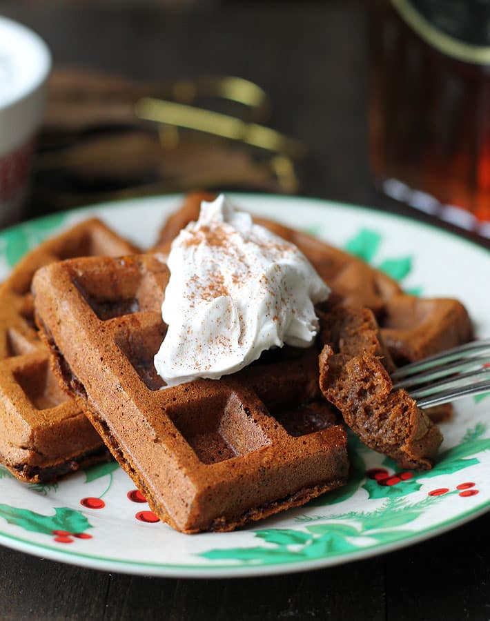 Serve these Vegan Gluten Free Gingerbread Waffles to your family during the holidays and they may just ask for them year round!