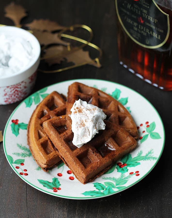 These Vegan Gluten Free Gingerbread Waffles are the perfect breakfast for a cozy holiday morning.