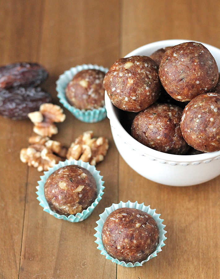 Fix that afternoon sugar craving with one or two of these no bake Walnut Coconut Hemp Seed Bites.
