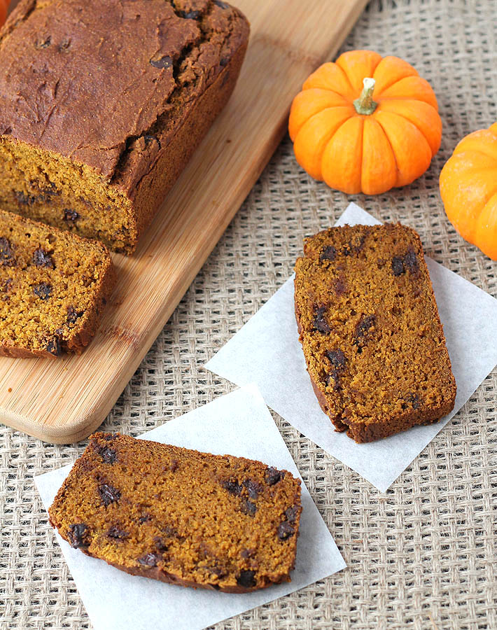 A quick and easy recipe for Vegan Gluten Free Pumpkin Chocolate Chip Bread that you'll want to make over and over again (yes, it's that delicious!)