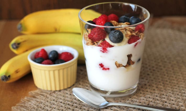 Banana Berry Granola Yogurt Parfait