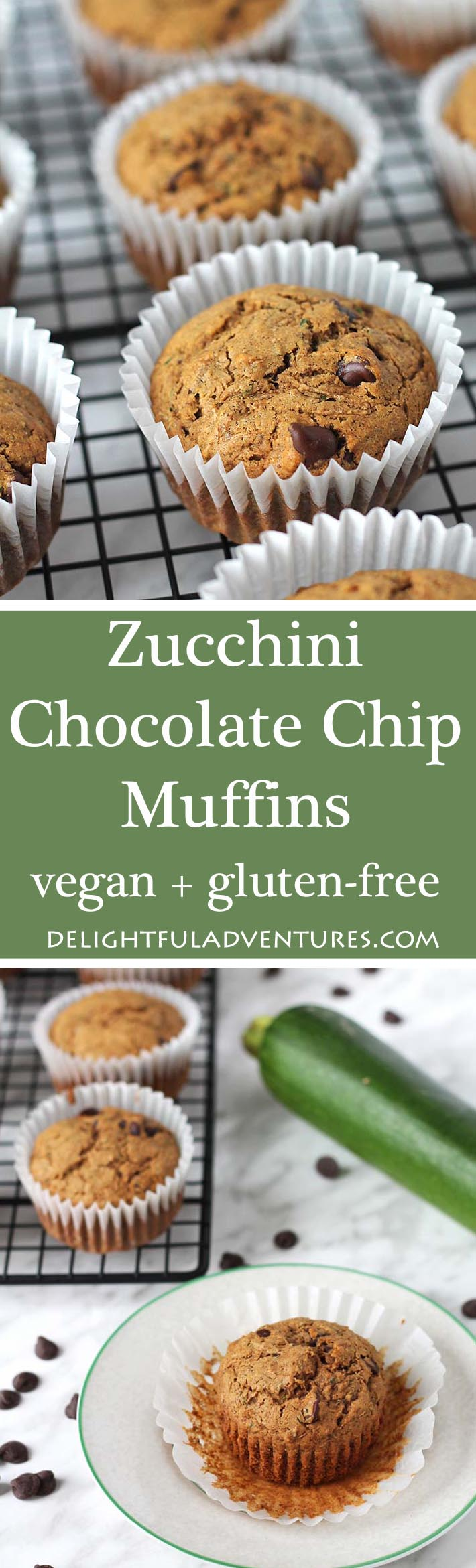 These delicious and easy-to-make vegan gluten free zucchini chocolate chip muffins are perfect for school snacks or for snacking on at home!